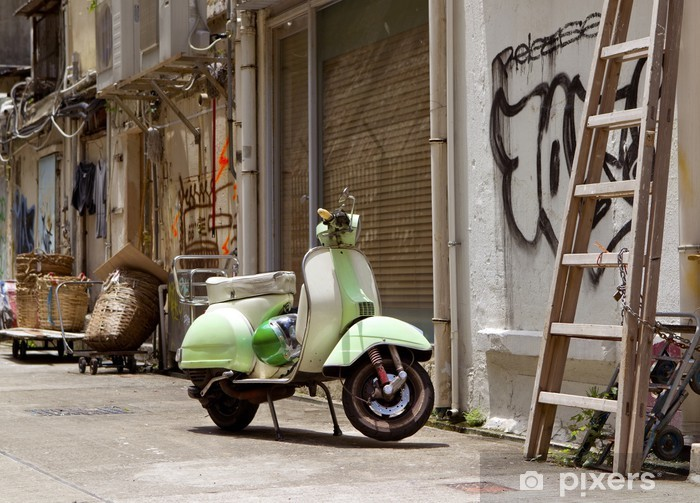 Classic green old scooter in back alley of downtown Hong Kong Vinyl Wall Mural - Asia