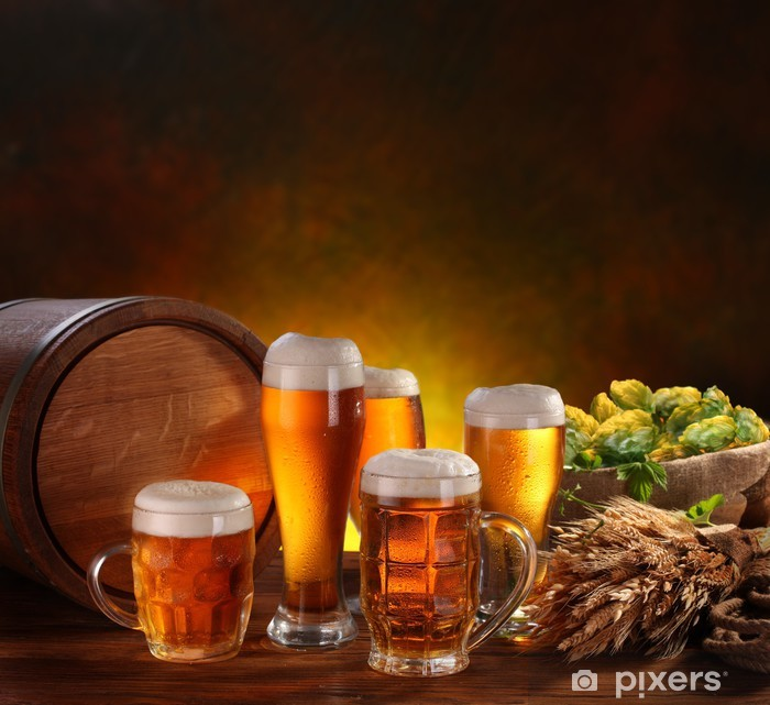 Fototapeta winylowa Martwa natura z beczki piwa - Alkohol