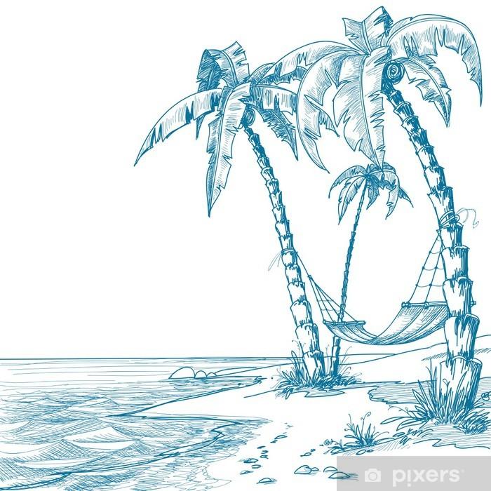 Plakat Tropikalna plaża z palmami i hamak - Palmy
