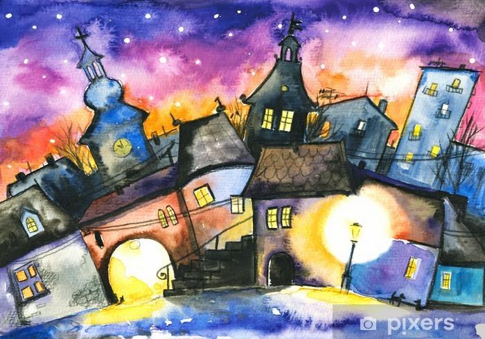 Fototapeta winylowa Małe miasteczko w nocy - Tematy