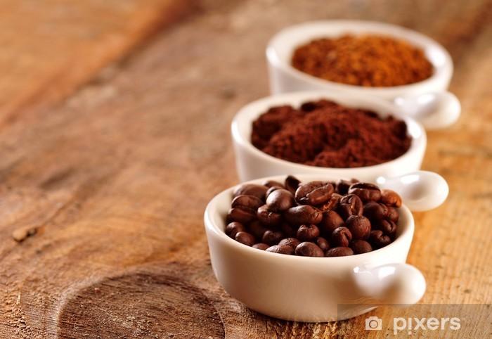 Naklejka Pixerstick Czarna kawa - trzy rodzaje - Gorące napoje