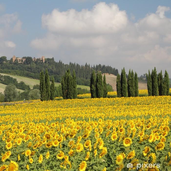 Adesivo Paesaggio toscano con girasoli e cipressi, Italia Pixerstick