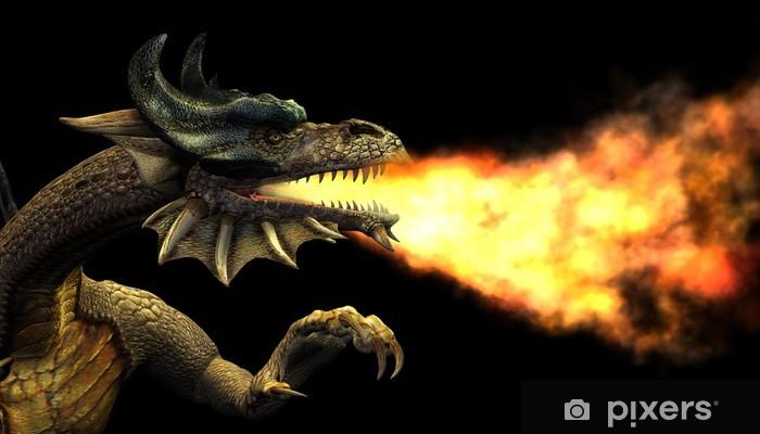 Papier peint vinyle Portrait de dragon cracheur de feu - Dragons
