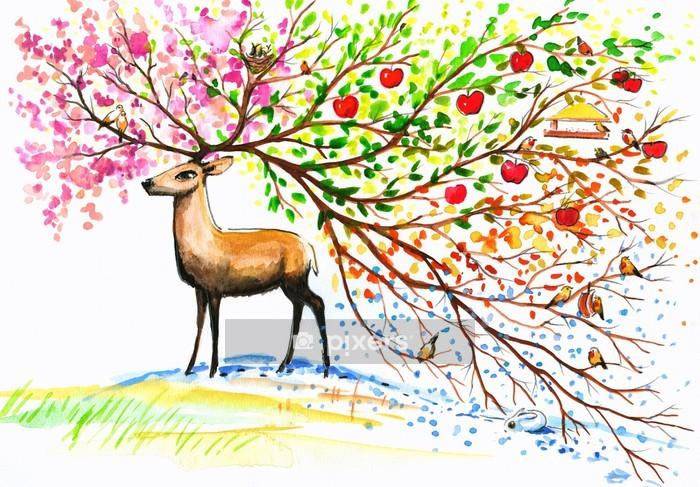 Adesivo da Parete Deer-quattro stagioni. - Adesivo da parete