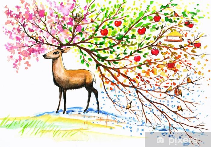 Papier peint vinyle Cerf-quatre saisons. - Sticker mural