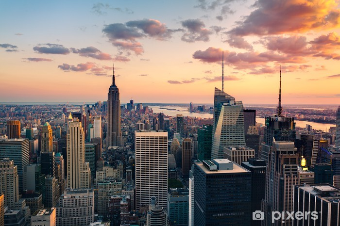 Zelfklevend Fotobehang Empire State Building op Times Square - Stijlen