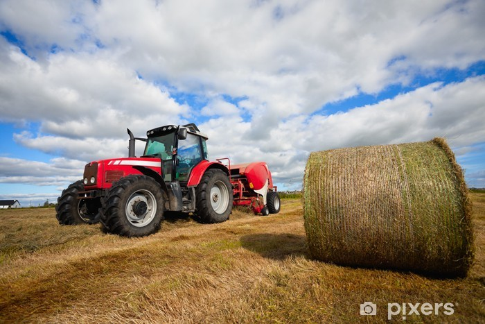 tractor collecting haystack in the field Pixerstick Sticker - Themes