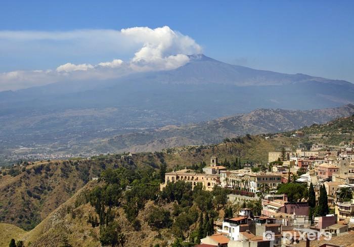 Pixerstick Sticker Sicilië, Italië, met Etna - Bergen