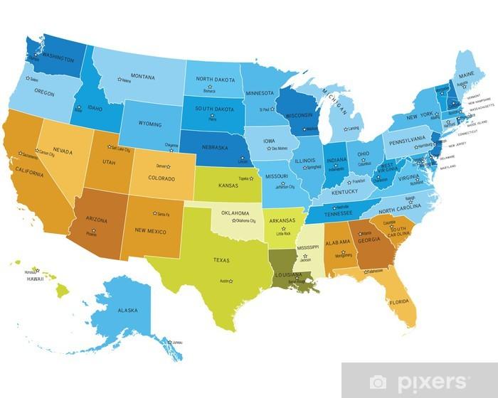 Pixerstick Sticker USA kaart met namen van steden - Muursticker