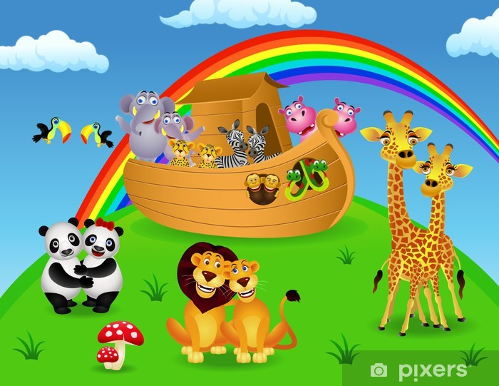 Fotomural Estándar Noé arca con los animales - Para niña