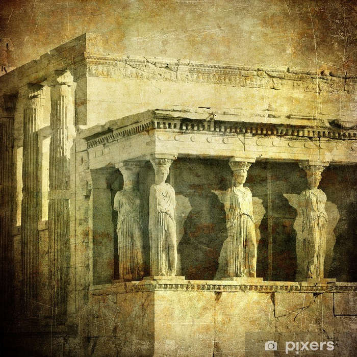 Vintage image of Caryatids, Acropolis, Athens, Greece Vinyl Wall Mural - Themes