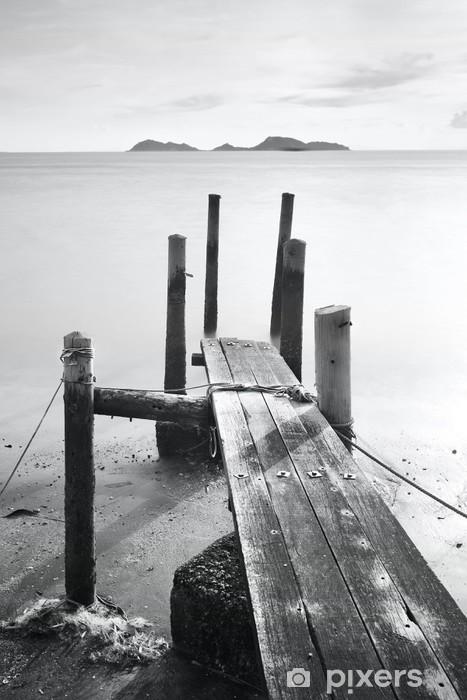 Fotomural Estándar Pier ir al mar, blanco y negro - Estilos