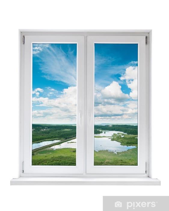 Fototapeta winylowa Biały plastik podwójne drzwi okno z widokiem na spokojny krajobraz - Budynki i architektura