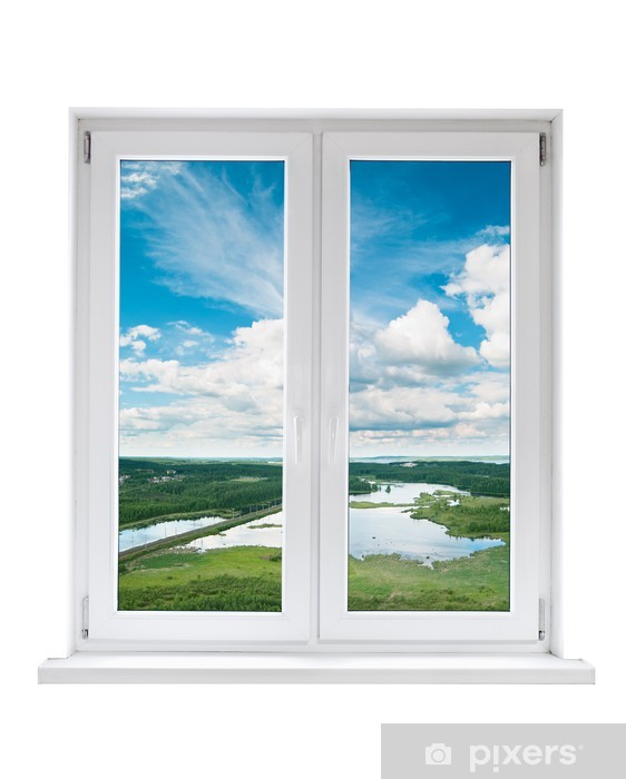 White Plastic Double Door Window With View To Tranquil