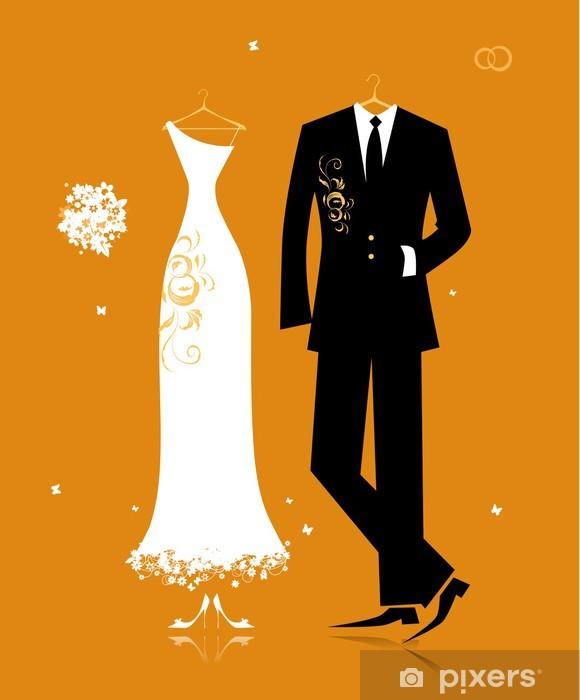 Nálepka Pixerstick Svatební oblek ženicha a nevěsty šaty pro svůj design - Slavnosti