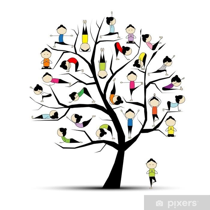 Fotomural Estándar La práctica del yoga, concepto del árbol para su diseño - Árboles y hojas