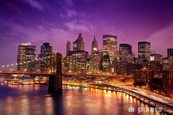 Brooklyn Bridge overlooking Manhattan Pixerstick Sticker -
