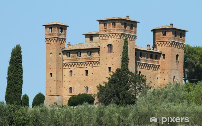 Castle Quattro Torri ( four towers) near Siena Pixerstick Sticker - Europe