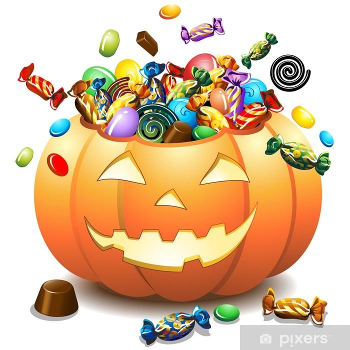 Immagine Zucca Di Halloween 94.Carta Da Parati In Vinile Halloween Zucca E Caramelle Zucca Di Halloween E Caramelle Vector