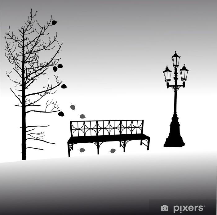 Papier peint vinyle Banc sous automne tree illustration - Bâtiments publics