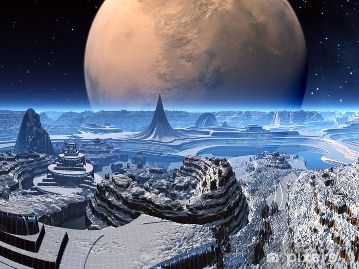 Naklejka Pixerstick Futurystyczne Alien City w zima śnieg - Przestrzeń kosmiczna