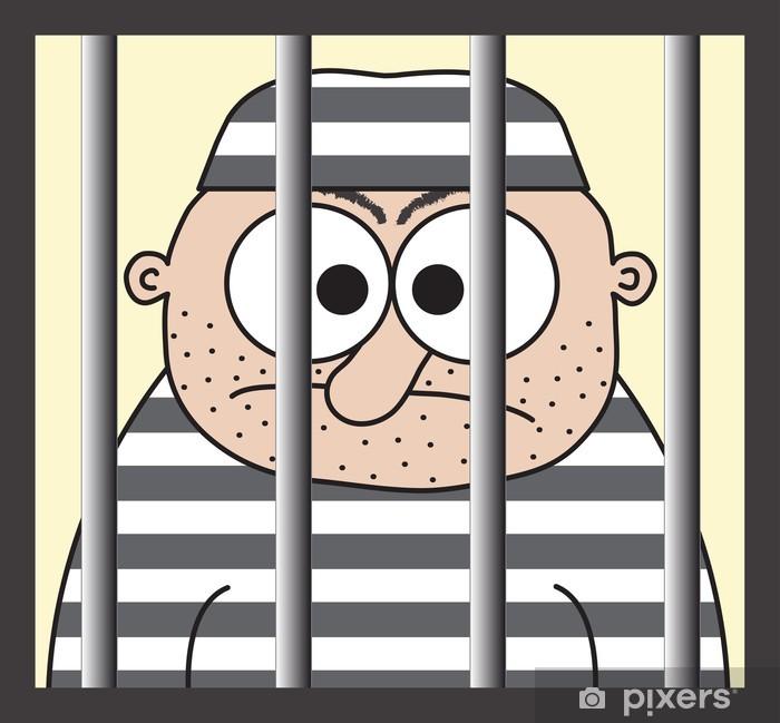 Cartoon prisoner behind the bars, funny vector illustration. Poster - Violence and Crime