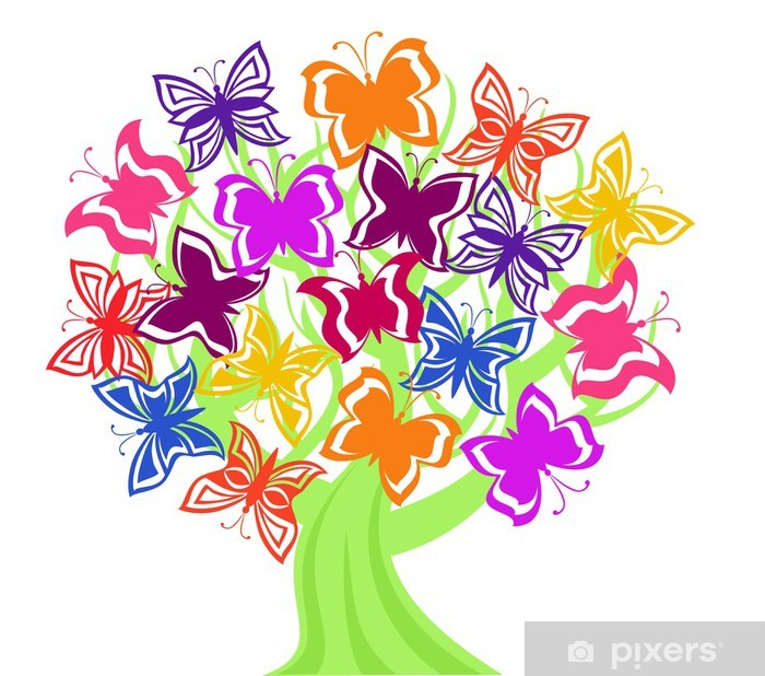 Pixerstick Aufkleber Vektor-Illustration eines Baumes mit Schmetterlingen - Naturwunder