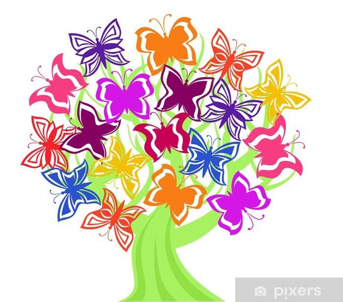 Vector illustration of a tree with butterflies Pixerstick Sticker - Wonders of Nature