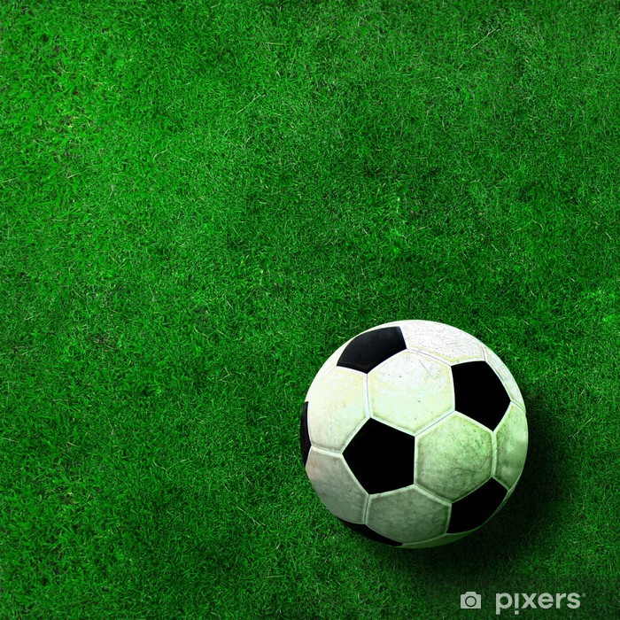 Vinyl Fotobehang Voetbal bal op groen gras - Team sport