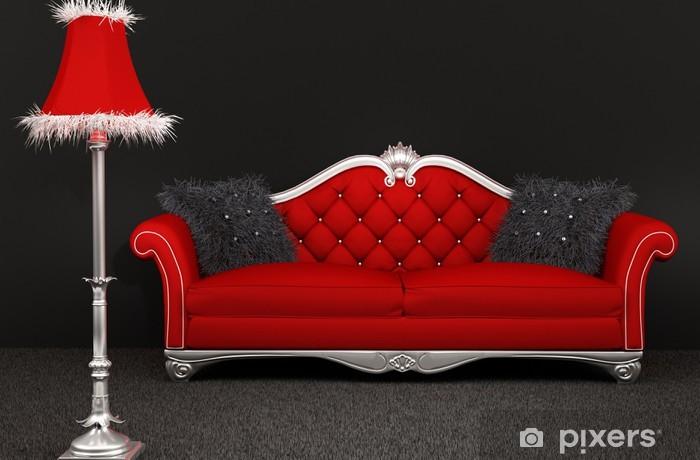 Divano Maria Rosaria : Adesivo divano con cuscini pelosi e lampada standard su sfondo scuro