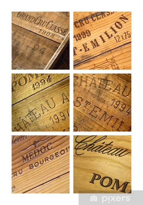 Papier peint vinyle Vin, caisse, château, millésime, Bordeaux, chai, cave - Alcool