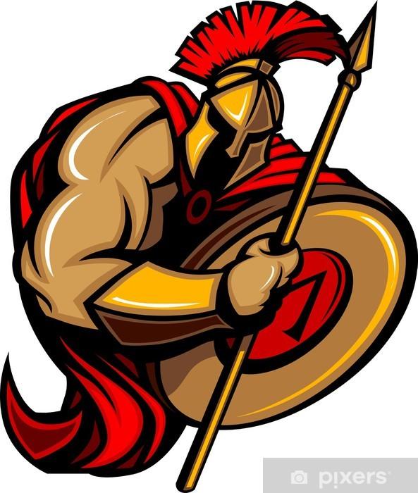Papier peint vinyle Spartan dessin animé de mascotte de Troie avec la lance et le bouclier -