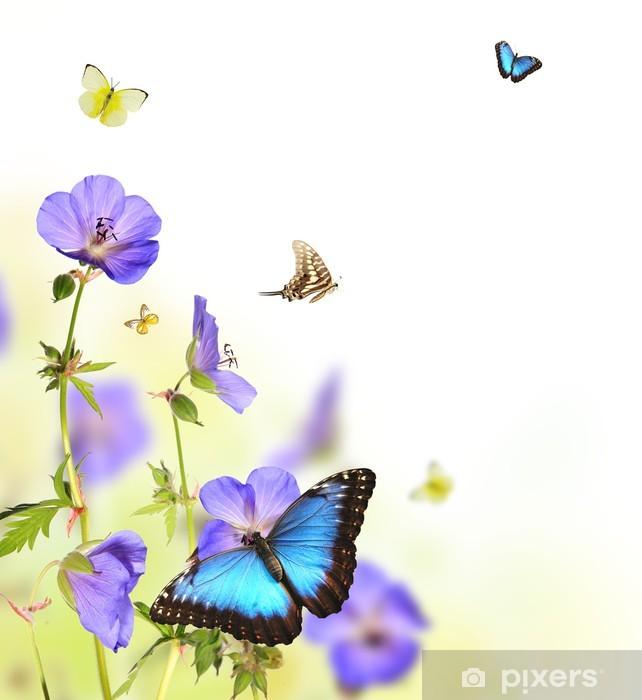 Papier peint vinyle Des papillons dans le pré de fleur - Autres Autres