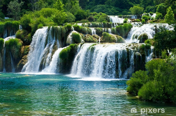 Fairytale waterfall surrounded by greenery Vinyl Wall Mural - Waterfalls