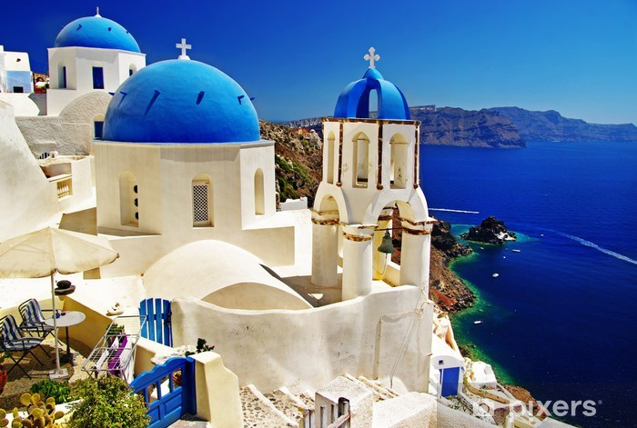 Carta da Parati in Vinile Santorini bella vista della caldera con chiese - Temi