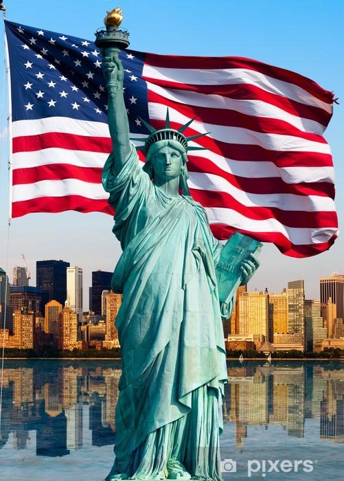 Naklejka Pixerstick Panoramę Nowego Jorku, pomnik de la Liberte - Tematy