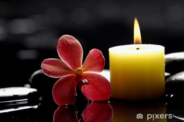 Kylpylä kohtaus - polttaminen, kynttilä ja punainen orkidea zen kiviä Pixerstick tarra - Destinations