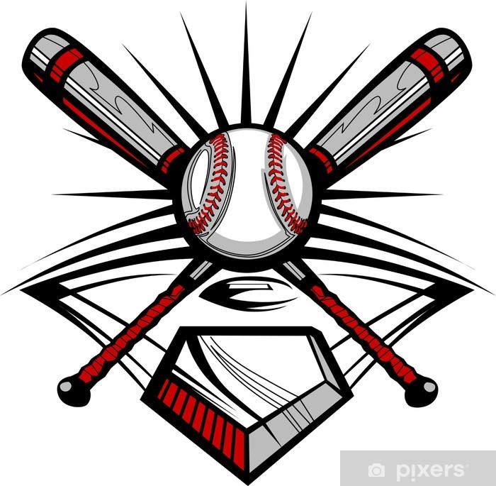 Baseball or Softball Crossed Bats with Ball Image Template Wall Mural -  Vinyl