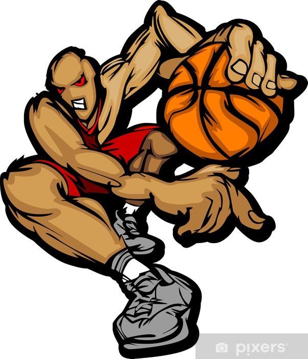 Nálepka Pixerstick Basketball Player Cartoon Dribbling Basketbal - Nálepka na stěny