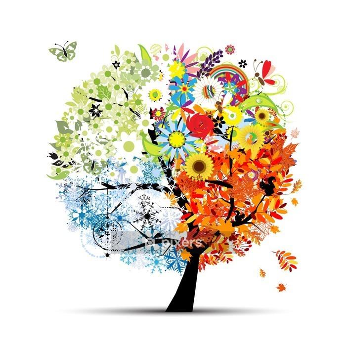 Four seasons - spring, summer, autumn, winter. Art tree Wall Decal - Themes