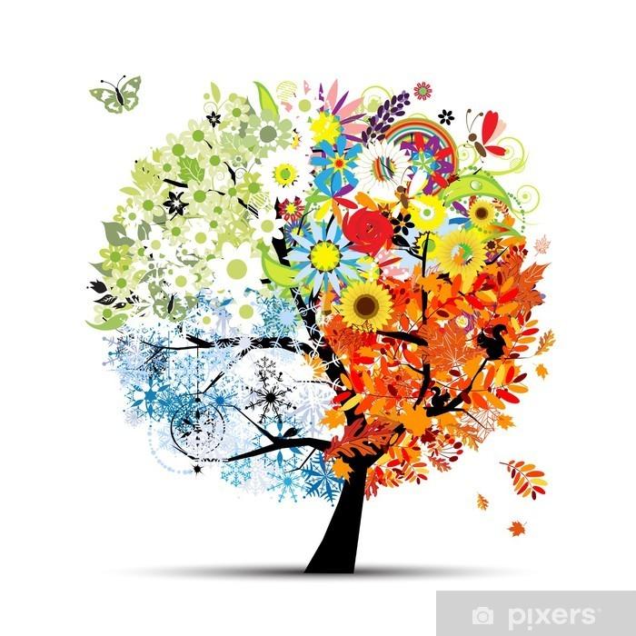 Pixerstick Sticker Vier seizoenen - lente, zomer, herfst, winter. Kunst boom - Thema's