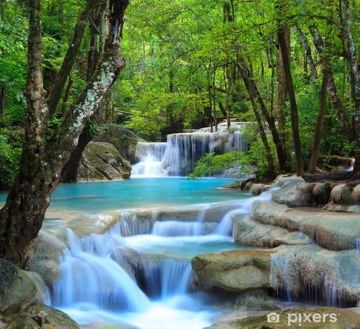 Koelkaststicker Erawan Waterfall, Kanchanaburi, Thailand - Watervallen