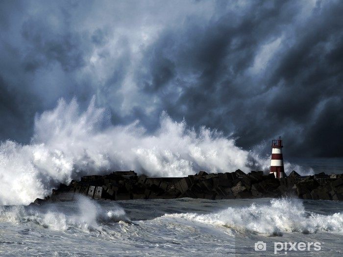 Stormy waves against beacon Vinyl Wall Mural - Lighthouse