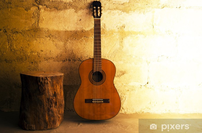 Acoustic guitar on old wall - copyspace Pixerstick Sticker - Themes