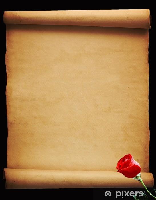 Vinylová fototapeta List pergamenu s rudou růží na černém pozadí - Vinylová fototapeta