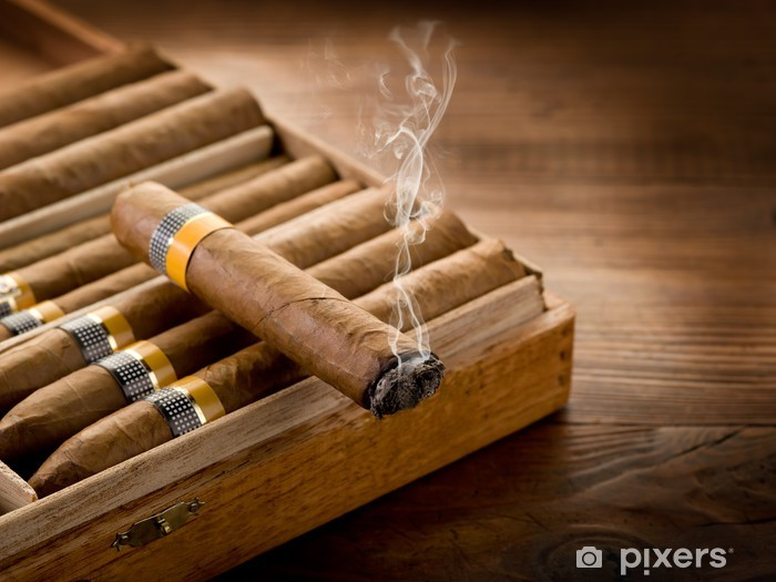 smoking cuban cigar over box on wood background Pixerstick Sticker - Happiness
