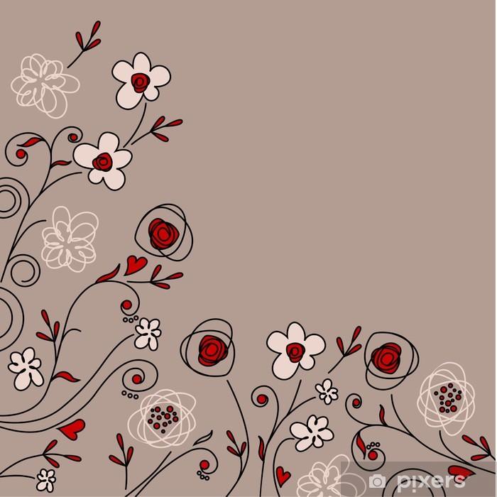 Plakat Kwiatów pastelowe tło z pięknych kwiatów konturu - Sztuka i twórczość