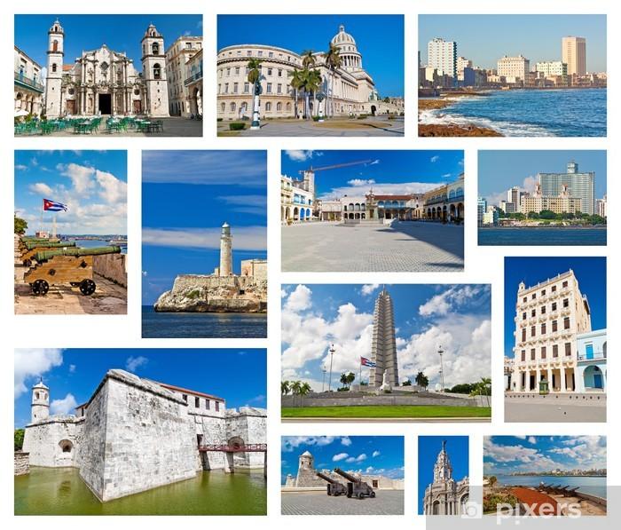 Plakat Kolaż z zabytków Hawany - Ameryka