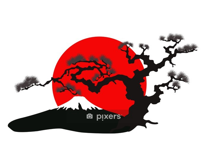 the Japanese landscape silhouette vector Wall Decal - Wall decals