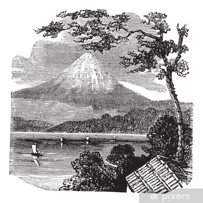Plakat Mount Fuji w Japonii rocznika grawerowanie - Azja